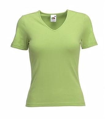 Fruit of the Loom Lady Fit V-Neck ( V-Ausschnitt ) T-Shirt mit kurzen Ärmeln und Elasthan - Anteil in 11 Farben und den Grössen S, M, L, XL und XXL Kiwi ( hellgrün ),XXL