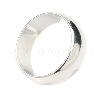 8mm 18ct White Gold D-Shape Wedding Ring