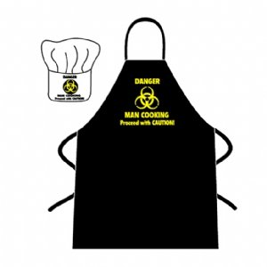 Novelty Apron and Chef's Hat Set - Danger Man Cooking