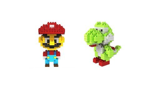 Lot of 2 Diamond Block Nano Building Block Super Mario & Yoshi Mini Toys - 1
