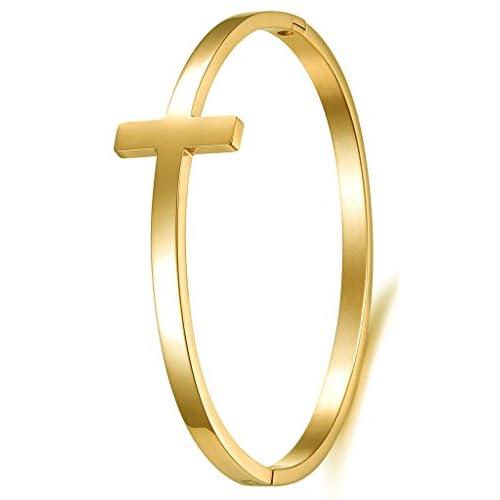 (キチシュウ)Aooazジュエリー レディースファッションバングルブレスレット シンプルデザイン クロス十字架 ゴールド 高品質アクセサリー 長さは約17CM