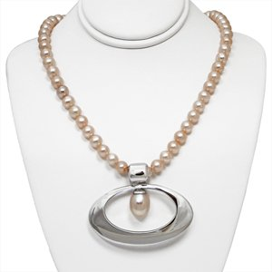 Pink Freshwater Pearl Strand with Wide Oval Sterling Silver Enhancer Pendant with Drop Pearl Accent