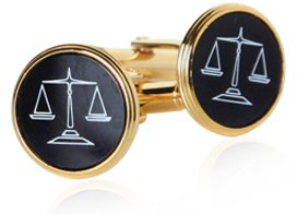 Gold Plated Cufflinks with Attorney Scales of Justice Set Black Onyx with Presentation Box