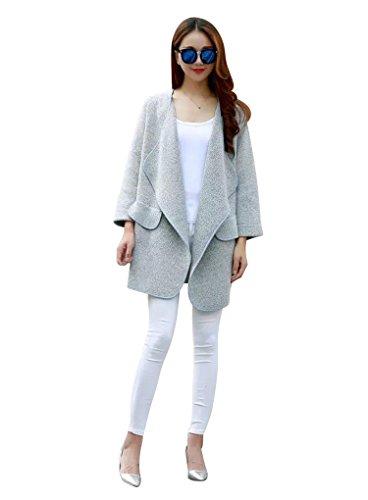 Molly Charme Casuali Donne Slacciano Knit Cappotto Del Cardigan Free Size Grigio