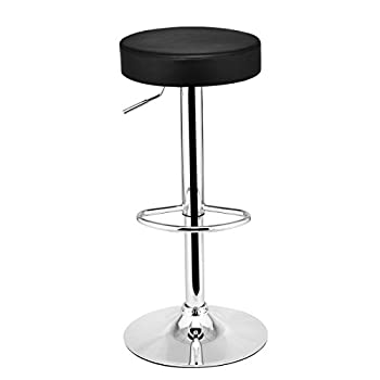 Costway Set of 2 Round Leather Seat Chrome Leg Chair Adjustable Hydraulic Swivel Bar Stool (Black)