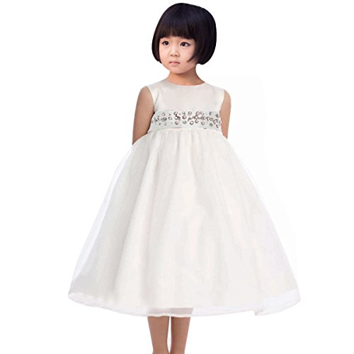 Fashion Plaza Flower Girl Satin Tulle Layered Princess Party Pageant Dress K0012 (2, White)