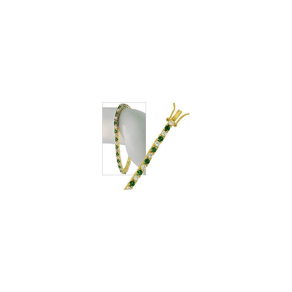 24k Gold GF CZ Simulated Emerald Green Tennis Bracelet