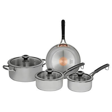 Revere Copper Confidence Core 7-Piece Stainless Steel Cookware Set l Stainless Steel and Copper Construction