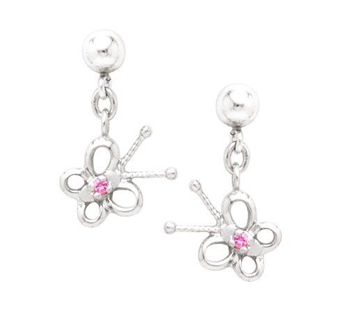 Sterling Silver Pink Sapphire Butterfly Drop Earrings
