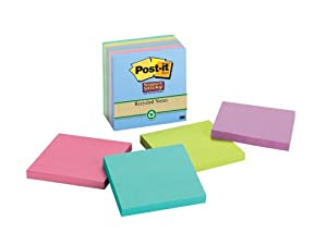 Post-it Recycled Super Sticky Notes, 3 x 3-Inches, Assorted Tropical Colors, 6-Pads/Pack