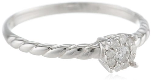 Sterling Silver Rope Cluster Diamond Ring (1/10 cttw, I-J Color, I2-I3 Clarity), Size 6