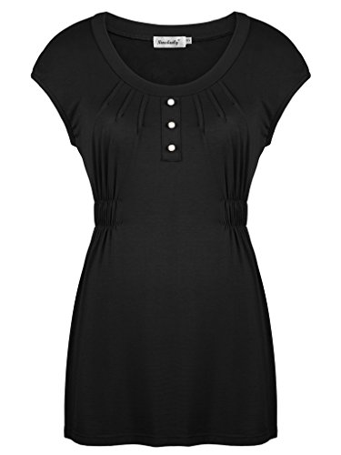 Ninedaily Women Short Sleeve Tunic Draped Blouse Tops Black L (Supreme Top Form compare prices)
