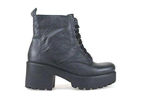 scarpe donna CROWN 36 stivaletti nero pelle AJ108-C