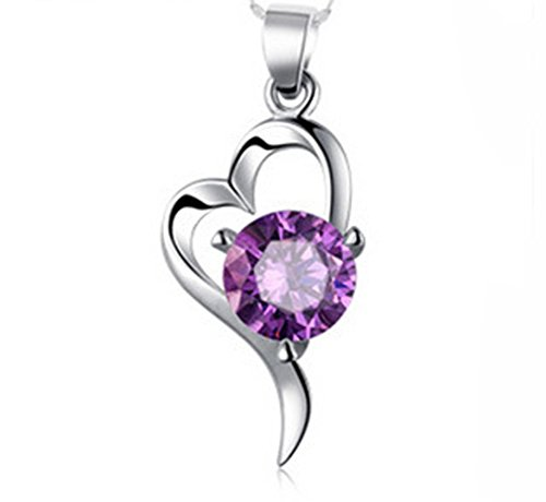 "Gorgeous Jewelry ""Love at First Sight"" Purple Diamond Accented Heart Silver Necklace (Valentines Gift)"