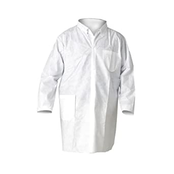 Kimberly-Clark KleenGuard Fabric A20 Breathable Particle Protection Lab Coat, XXL Size, White 40049 (Case of 25)