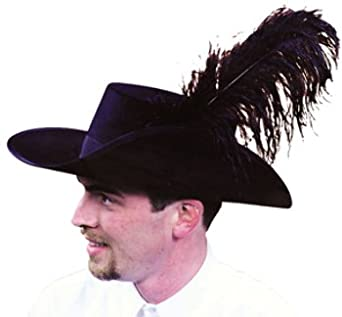 Men's Black Captain Hector Barbossa Cavalier Pirate Hat with Black Plumes by Sofi's Stitches