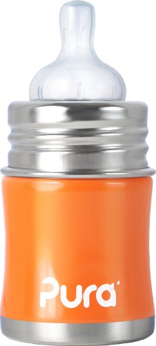 Pura Kiki Stainless Infant Bottle Stainless Steel with Natural Vent Nipple, 5 Ounce, Orange, 0-6 Months+