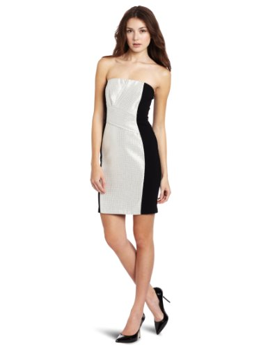 Yoana Baraschi Women's Silver Moon Strapless Dress, Silver Ice/Black, 8