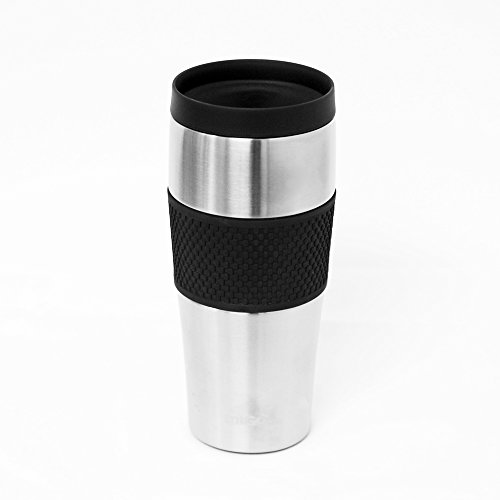 Migo Double-Wall Stainless Steel Thermal Mug With Rubber Grip 16Oz Silver