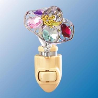 Chrome Hat Night Light - Multicolored Swarovski Crystal