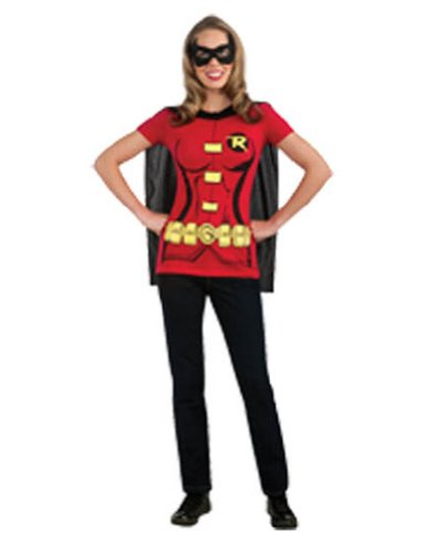 Robin Sexy Shirt Lg Halloween Costume - Adult Large