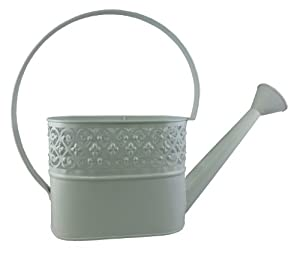 Napco 6-Inch Tall Metal Lattice Fence Style Oval Water Can Planter