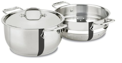 All-Clad E414S5 Stainless Steel Steamer Cookware, 5-Quart, Silver