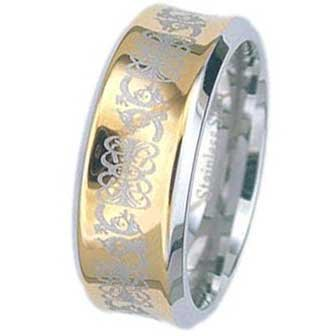 8MM Two Tone Stainless Steel Ring With Celtic Design On Gold Plated Center