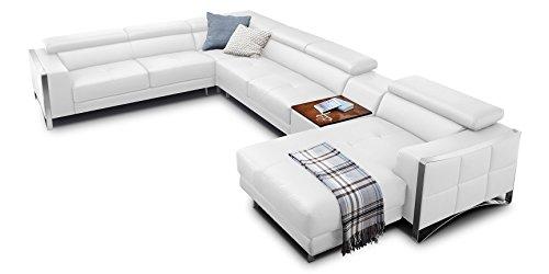 Echt-Leder-Wohnlandschaft-Elsa-Sofa-in-U-Form-mit-Edelstahlrahmen-wei-Teilleder-Standard