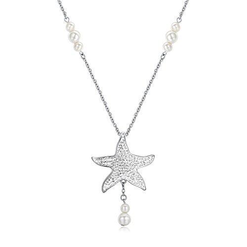 """Oceana & Sp collana Swarovski Ciondolo a forma di stella marina in acciaio inox con catena 24""""per donna"""