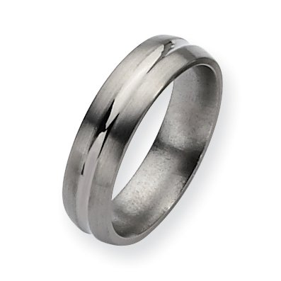 Titanium Grooved 6mm Brushed And Polished Band, Size 9