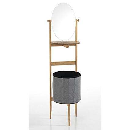 Wink Design Varm Colonna con Specchio e Portabiancheria, Legno, Bianco, 22 x 58 x 50 cm