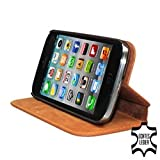 PEDEA Genuine Leather Case Cover for Apple iPhone 5S/5 - Cognac Brown
