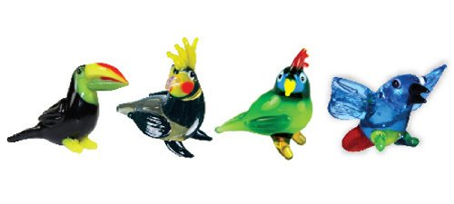 Looking Glass Miniature Collectible - Toucan / Cockatiel / Parrot / Macaw (4-Pack)