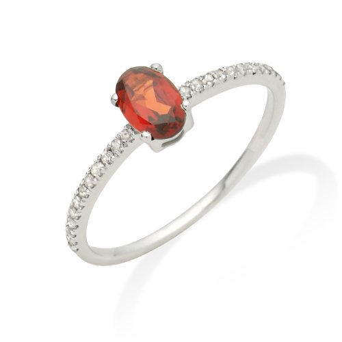 Garnet Ring, 9ct White Gold, Diamond Setting, Size N, by Miore, JM022R7WO