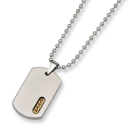 Titanium & 24K Gold Accent Dog Tag Necklace 22 Inch