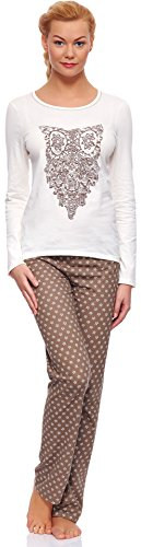 Italian Fashion IF Damen Schlafanzug Gufo 0223 (Ecru, S)