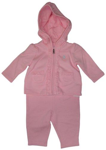 Ralph Lauren Polo Infant Girl'S 2 Piece Ruffle Trimmed Jog Set Pink, 3 Months front-1035867