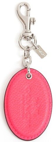 Coach Hot Pink Silver Key Chain Fob Hangtag Leather Keychain Signature Oval Saddle F63382