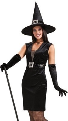 Rubies Cocktail Hour Witch Sexy Goth Witch Black Dress Outfit Halloween Costume