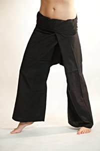yoga trousers 100% Cotton yoga pants, tai chi pants - Black (Free Size)