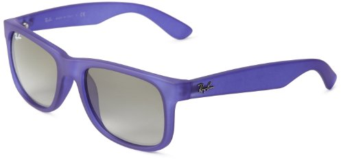 Ray-Ban 0RB4165 899/11 Rectangular Sunglasses,Transparent Blue Rubber,55 mm