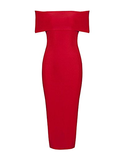 UONBOX Women's Rayon Off the Shoulder Front Split Midi Bodycon Bandage Party Dress (L, red) (Split Front Prom Dress compare prices)