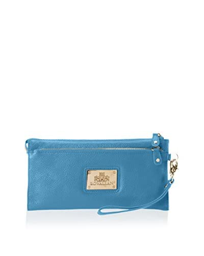 Rowallan of Scotland Women's Jeanne Leather Clutch/Wristlet, French Blue