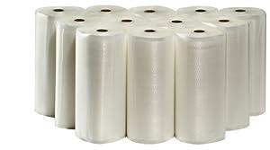 "Vacuum Sealer Bag Rolls 11"" x 50' (Bulk) Full Case 12 Rolls Total"