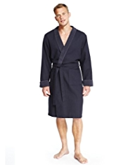 Pure Cotton Lightweight Waffle Dressing Gown
