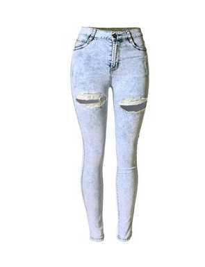 GA&GA Vita alta neve fori in jeans sexy pantaloni/dimensione alte donna , snow white , 38= domestic l, foreign m