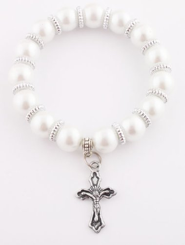 Ladies Pearl Beads with Rigid Spacers and Jesus Cross Charm Adjustable Stretch Bracelet