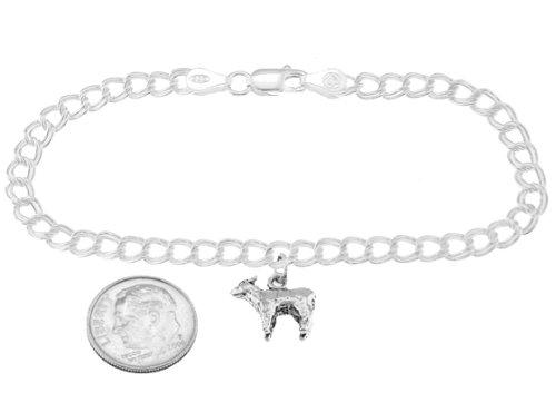 Sterling Silver Lamb on 4 Millimeter Charm Bracelet