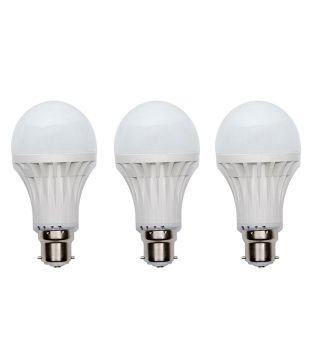 3W B22 LED Bulb (White, Set Of 3)